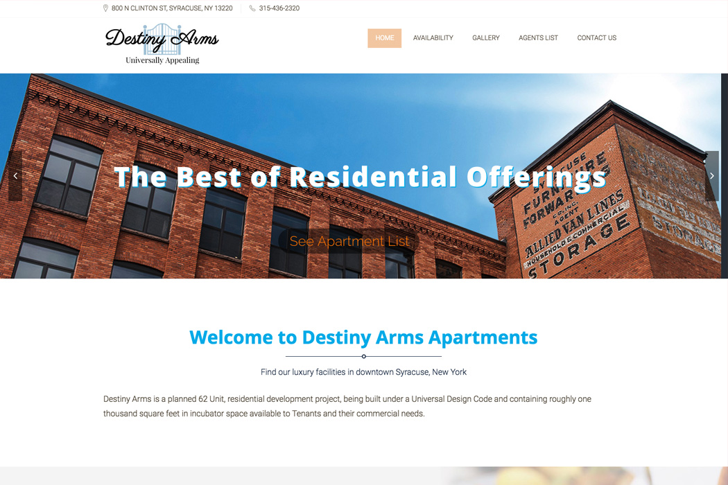 Destiny Arms Apartments Website